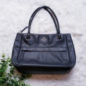 Kate spade black leather shoulder tote bag 0102760